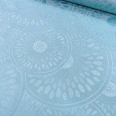 Jacquard Decor Largo - Formas Circulares - Azul Claro (Largura: 2,80 m)