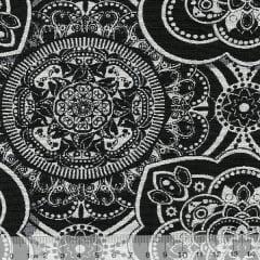 Tecido Jacquard Decor Soft Dupla Face - Mandala - Preto e Branco