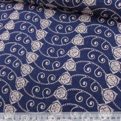 Tecido Lese Bordada Formas REF 11 - Cor Mescla Azul Escuro - 100% Algodão - Largura 1,35m