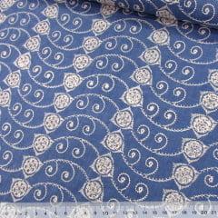 Tecido Lese Bordada Formas REF 12 - Cor Mescla Azul Claro (Largura: 1,35 m)