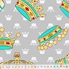 Percal 130 Fios Coroas - Cinza