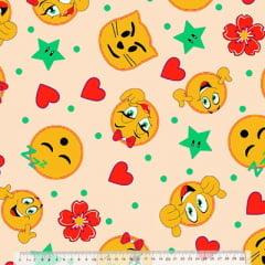 Tecido Percal 130 Fios Emoticons - Fundo Bege - 100% Algodão - Largura 2,45m