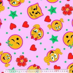 Percal 130 Fios Emoticons - Fundo Rosa
