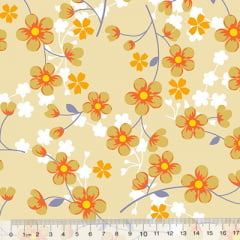 Percal 130 Fios Florzinhas - Bege