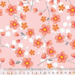 Percal 130 Fios Florzinhas - Rosa