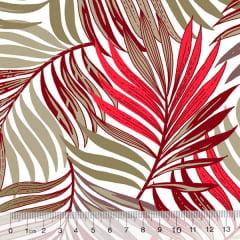 Percal 130 Fios Folhagem Colors - Vermelho