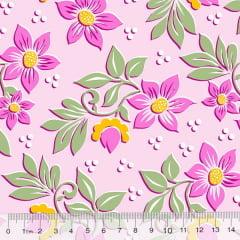 Percal 130 Fios Jardim de Flores - Rosa