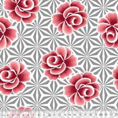Percal 130 Fios Rosas e Formas
