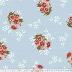Tecido Percal 230 Fios Estampado - Coleção Floral Ref 04 - 100% Algodão - Largura 2,50m