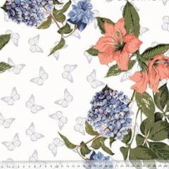 Tecido Percal 230 Fios Estampado - Coleção Floral Ref 08 - 100% Algodão - Largura 2,50m