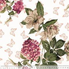 Tecido Percal 230 Fios Estampado - Coleção Floral Ref 09 - 100% Algodão - Largura 2,50m