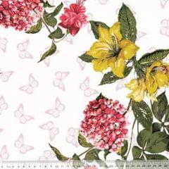 Tecido Percal 230 Fios Estampado - Coleção Floral Ref 10 - 100% Algodão - Largura 2,50m