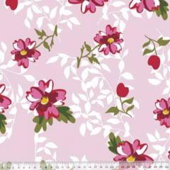 Tecido Percal 230 Fios Estampado - Coleção Floral Ref 12 - 100% Algodão - Largura 2,50m