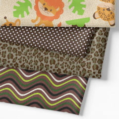 Kit Fat Quarter - Bichinhos do Safari Divertido (4 Cortes de 50 cm x 75 cm)