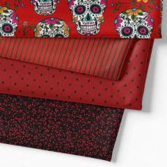 Kit Fat Quarter - Caveiras Mexicanas Vermelho (4 Cortes de 50 cm x 75 cm)