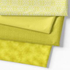 Kit Fat Quarter - Coleção Composê Ideal Amarelo (4 Cortes de 50 cm x 75 cm)