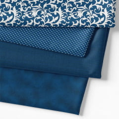 Kit Fat Quarter - Coleção Composê Ideal Azul Royal (4 Cortes de 50 cm x 75 cm)