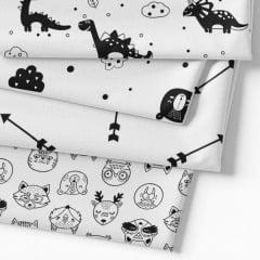 Kit Fat Quarter - Coleção Funny Black & White REF 01 (4 Cortes de 50 cm x 75 cm)