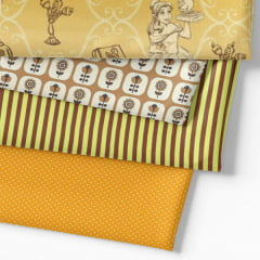 Kit Fat Quarter - Personagens A Bela e a Fera (4 Cortes de 50 cm x 75 cm)