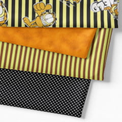 Kit Fat Quarter - Personagens Garfield Listras Amarelas (4 Cortes de 50 cm x 75 cm)