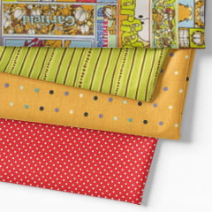 Kit Fat Quarter - Personagens Garfield Mosaico Colorido (4 Cortes de 50 cm x 75 cm)
