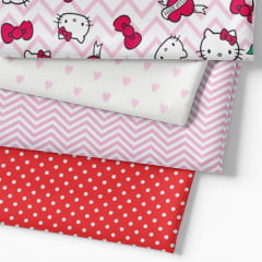 Kit Fat Quarter - Personagens Hello Kitty Chevron (4 Cortes de 50 cm x 75 cm)