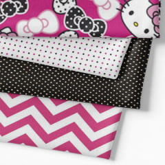 Kit Fat Quarter - Personagens Hello Kitty Pink e Black (4 Cortes de 50 cm x 75 cm)