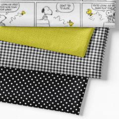 Kit Fat Quarter - Personagens Snoopy Quadrinhos (4 Cortes de 50 cm x 75 cm)