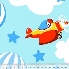Tecido Tricoline Alg. Aviões e Balões - Azul - 100% Algodão - Largura 1,45m