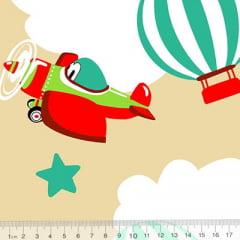 Tecido Tricoline Alg. Aviões e Balões - Bege - 100% Algodão - Largura 1,45m