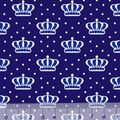 Tecido Tricoline Alg. Coroas Crown - Azul Marinho - 100% Algodão - Largura 1,45m