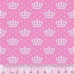 Tecido Tricoline Alg. Coroas Crown - Rosa Claro