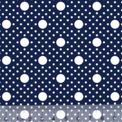 Tecido Tricoline Alg. Poá Tamanhos - Azul Marinho