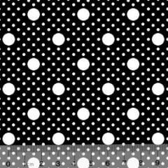 Tecido Tricoline Alg. Poá Tamanhos - Preto