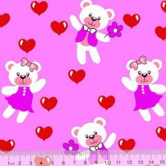 Tecido Tricoline Alg. Ursinho Lovers - Rosa - 100% Algodão - Largura 1,45m