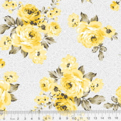 Tecido Tricoline Arabella Cinza - Floral - 100% Algodão - Largura 1,50m