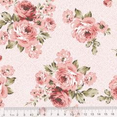 Tecido Tricoline Arabella Rosa - Floral - 100% Algodão - Largura 1,50m