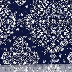Tecido Tricoline Bandana - Azul Marinho c/ Branco - 100% Algodão - Largura 1,50m