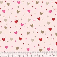 Tecido Tricoline CatRat Corações - Rosa