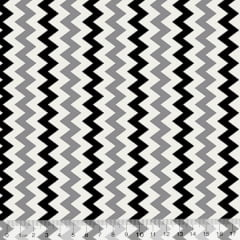Tecido Tricoline Chevron Ibira Maior - Preto - 100% Algodão - Largura 1,50m