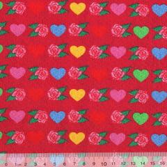Tecido Tricoline Corações Coloridos e Rosas - Fundo Vermelho