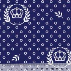 Tecido Tricoline Coroas Circle - Azul Marinho