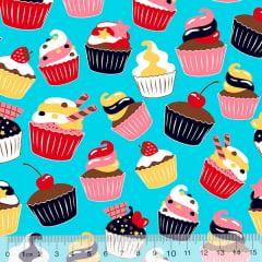 Tecido Tricoline Cupcakes Delícia - Azul Claro