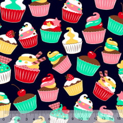 Tecido Tricoline Cupcakes Delícia - Azul Marinho