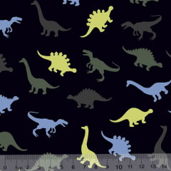 Tecido Tricoline Dinossauros Cores - Fundo Azul Marinho - 100% Algodão - Largura 1,50m