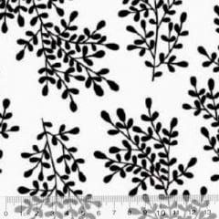 Tecido Tricoline Floral Floramos - Branco c/ Preto