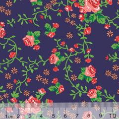 Tecido Tricoline Floral Graça - Azul Marinho - 100% Algodão - Largura 1,50m