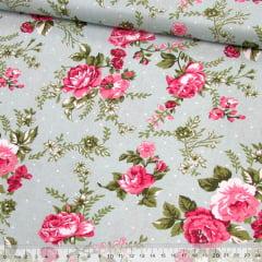 Tecido Tricoline Floral Madalena