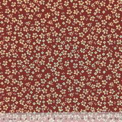 Tecido Tricoline Floral - Trevos Fundo Vinho c/ Bege