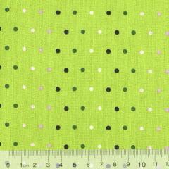 Tecido Tricoline FM Lu Gastal Dots - Fundo Verde